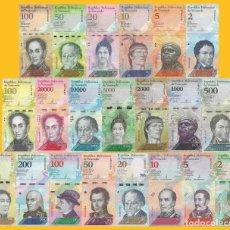 Billetes extranjeros: VENEZUELA FULL SET 21 PCS BOLIVARES Y SOBERANO 2007 - 2018 UNC. Lote 190879578