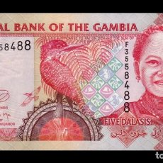 Notas Internacionais: GAMBIA 5 DALASIS 2013 PICK 25C NUEVAS FIRMAS SC UNC. Lote 262200885