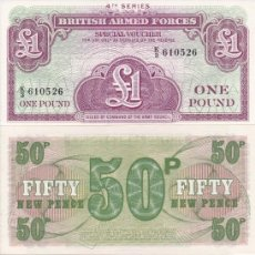 Billetes extranjeros: 4 BILLETES BRITISH ARMED FORCES ONE POUND , 50, 10 Y 5 NEW PENCE S/C. Lote 191332165