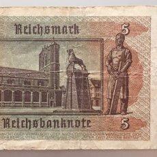 Billetes extranjeros: ALEMANIA. 5 REICHSMARK 1942. Lote 191524050