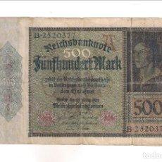 Billetes extranjeros: BILLETE DE 500 MARCOS DE ALEMANIA DE 1922. BC. WORLD PAPER MONEY-73 (BE204). Lote 191637211