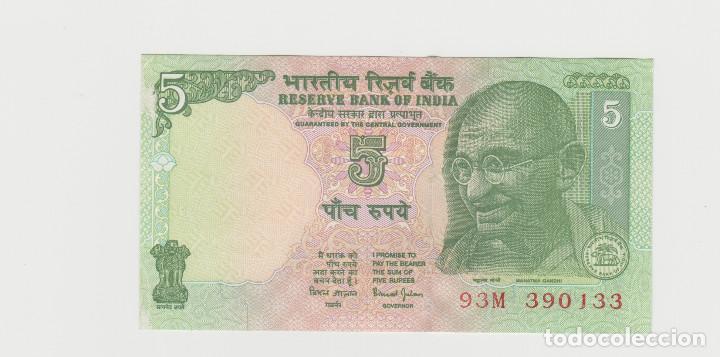 INDIA- 5 RUPIAS- SC (Numismática - Notafilia - Billetes Extranjeros)