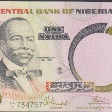 Billetes extranjeros: BILLETES - NIGERIA - 1 NAIRA 1984 - SERIE DC/31 Nº 734758 - PICK-23B (SC). Lote 237406180