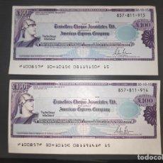 Billetes extranjeros: 2 X BANKNOTES GREAT BRITAIN - £ 100 POUNDS -T.C ASSOCIATES- LTD.AMERICAM EXPRESS COMPANY- PAREJA-UNC. Lote 192012766