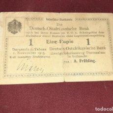 Billetes extranjeros: AFRICA ORIENTAL ALEMANA. EMISIÓN DE EMERGENCIA I G.M. 1 RUPIE (RUPIA) 1.11.1915. Lote 192096812