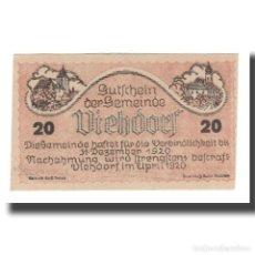 Billetes extranjeros: BILLETE, AUSTRIA, VIEHDORF, 20 HELLER, ANIMAUX 1, 1920, 1920-12-31, UNC, MEHL:FS. Lote 192099587