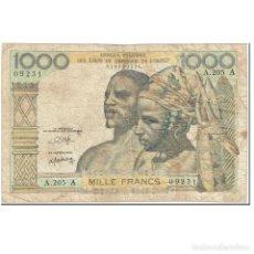 Billetes extranjeros: BILLETE, 1000 FRANCS, 1959-1965, ESTADOS DEL ÁFRICA OCCIDENTAL, UNDATED. Lote 192100587