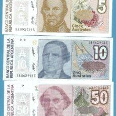 Billetes extranjeros: 3 BILLETES DE ARGENTINA. 5, 10 Y 50 AUSTRALES. NO CIRCULADOS. Lote 192138380