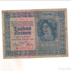 Billetes extranjeros: BILLETE DE 1.000 KRONEN (CORONAS) DE AUSTRIA DE 1922. MBC. (BE149). Lote 192143482