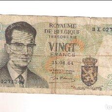 Billetes extranjeros: BILLETE DE 20 FRANCOS DE BÉLGICA DE 1964. RC. (BE562). Lote 192145970