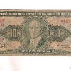 Billetes extranjeros: BILLETE DE 10 CRUZEIROS DE BRASIL. RC. (BE480). Lote 192146792