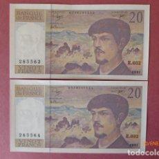 Billetes extranjeros: FRANCIA BILLETES PAREJA Nº CONTINUOS , SIN CIRCULAR 20 FRANCOS 1991, . Lote 192478452