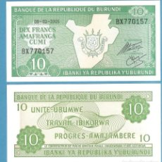 Billetes extranjeros: BILLETE DE BURUNDI. 10 FRANCS 2005. NO CIRCULADO. Lote 193579464
