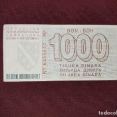 Billetes extranjeros: BOSNIA. 1000 DINARA 1.8.1992 ESCASO. Lote 193609286