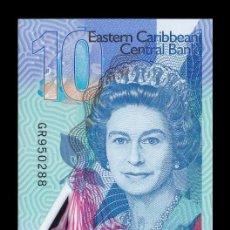 Billets internationaux: CARIBE EAST CARIBBEAN 10 DÓLARES ELIZABETH II 2019 PICK NUEVO POLÍMERO SC UNC. Lote 193696171