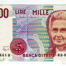 Billetes extranjeros: ITALIA BILLETE DE 1000 LIRAS AÑO 1990 EBC/SC SE ENVIA EL MISMO BILLETE DE LAS IMAGENES. Lote 193864488