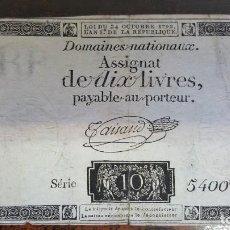 Billetes extranjeros: BILLETE FRANCIA , DOMAINES NATIONAUX ASSIGNAT DE DIX LIVRES 1792 , ORIGINAL - SERIE 5400ME. Lote 193910958