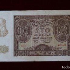 Billetes extranjeros: 100 ZLOTYCH 1940 POLONIA. P# 97. Lote 194208418