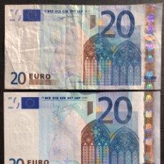 Billetes extranjeros: LOTE 3 BILLETES 20 EUROS 2002 PAÍSES Y FIRMAS DIFERENTES. Lote 194210896