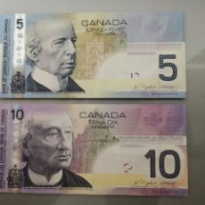 Billetes extranjeros: 2 BILLETES 5 Y 10 DÓLARES CANADÁ 2005 Y 2006. Lote 194226692