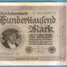 Billetes extranjeros: BILLETE DE ALEMANIA 100000 MARK 1923.. Lote 194232357