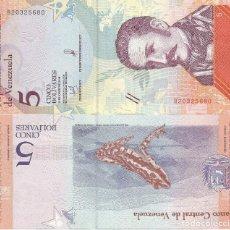 Billetes extranjeros: BILLETE DE VENEZUELA 5 BOLIVARES 2018 SC. Lote 194253612