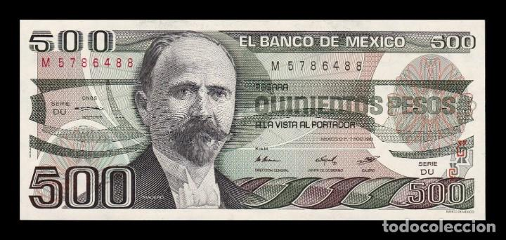 MÉXICO 500 PESOS 1984 PICK 79B SERIE DU SC UNC (Numismática - Notafilia - Billetes Extranjeros)