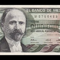 Billetes extranjeros: MÉXICO 500 PESOS 1984 PICK 79B SERIE DU SC UNC. Lote 194331928