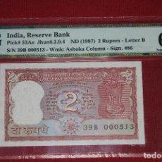 Billetes extranjeros: INDIA 1997 2 RUPEES PMG 67 EPQ. Lote 194367191