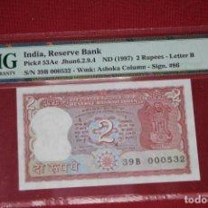Billetes extranjeros: INDIA 1997 2 RUPEES PMG 67 EPQ. Lote 194367346