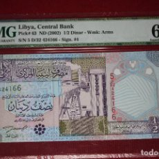 Billetes extranjeros: LIBIA 2002 1/2 DINARS PMG 68 EPQ. Lote 194368753