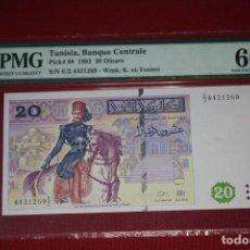 Billetes extranjeros: TUNISIA 1992 20 DINARS PMG 66 EPQ. Lote 194369172