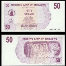 Billetes extranjeros: ZIMBABWE 50 DOLARES 2006 (2007) PIK 41 S/C. Lote 194392873