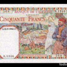 Billetes extranjeros: ARGELIA ALGERIA 50 FRANCS 1942 PICK 84 SC- AUNC. Lote 194492320