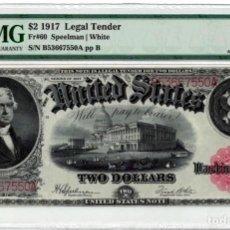 Billetes extranjeros: ESTADOS UNIDOS ESTADOS UNIDOS 2 DÓLARES 1917 UNC BILLETE GRANDE PMG 55. Lote 194528343