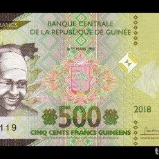 Billetes extranjeros: GUINEA 500 FRANCOS 2018 (2019) PICK NUEVO DISEÑO SC UNC. Lote 194560911
