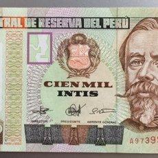 Billetes extranjeros: PERU. 100000 INTIS. Lote 194647768