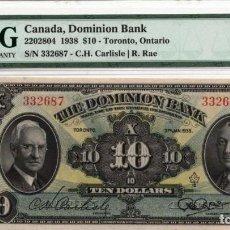 Billetes extranjeros: DOMINION BANK, TORONTO, ONTARIO $ 10 1938 PMG 55 CHOICE UNC. Lote 194696291