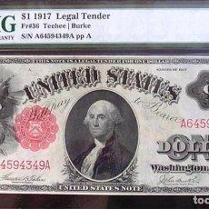 Billetes extranjeros: 1 DE DICIEMBRE DE 1917 UNC BILLETE DE GRAN TAMAÑO PMG 58. Lote 194697473