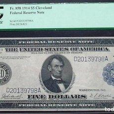 Billetes extranjeros: $ 5 1914 UNC USA $ 5 PARECE EL IDEAL DE GEM NUEVO. Lote 194697820