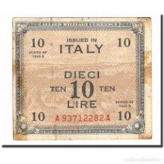Billetes extranjeros: BILLETE, 10 LIRE, 1943A, ITALIA, KM:M19A, BC+. Lote 194864073