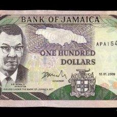 Billetes extranjeros: JAMAICA 100 DOLLARS 2009 PICK 84D SC UNC. Lote 194864957