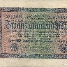 Billetes extranjeros: ALEMANIA - TERCER REICH - 20000 MARCOS DE 20. DE FEBRERO 1923 - CON EL Nº AA - DK 161622 - USADO - . Lote 194866636