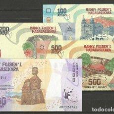 Billetes extranjeros: MADAGASCAR - LOTE DE 4 BILLETES DE 100 - 1000 ARIARY 2017 - SIN CIRCULAR - BILLETES DEL MUNDO. Lote 194883077