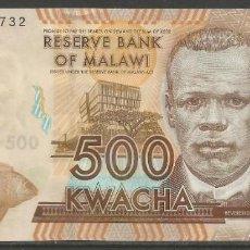 Billetes extranjeros: MALAWI - 500 KWACHA 01. DE ENERO 2012 - SIN CIRCULAR - PLANCHA - BILLETES DEL MUNDO. Lote 194888960