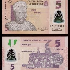 Billetes extranjeros: NIGERIA - 5 NAIRA 2013 - POLIMERO - SIN CIRCULAR - PLANCHA - BILLETES DEL MUNDO. Lote 194890257