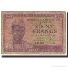 Billetes extranjeros: BILLETE, 100 FRANCS, 1958, GUINEA, 1958-10-02, KM:7, BC. Lote 194897961