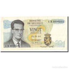 Billetes extranjeros: BILLETE, 20 FRANCS, 1964, BÉLGICA, 1964-06-15, KM:138, EBC+. Lote 194898391