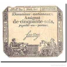 Billetes extranjeros: FRANCIA, 50 SOLS, OTHER, 1792, 1792-01-04, MBC, KM:A56. Lote 194902932