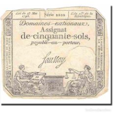 Billetes extranjeros: FRANCIA, 50 SOLS, OTHER, 1793, 1793-05-23, MBC, KM:A70B. Lote 194904661